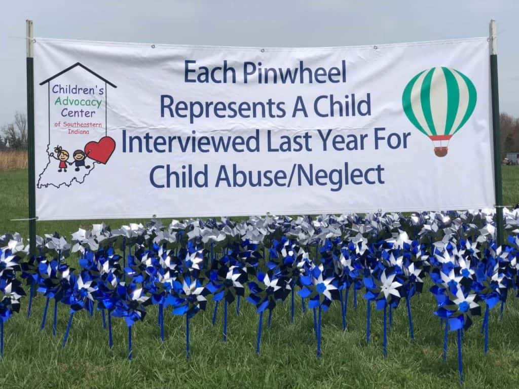 Pinwheels outside our CAC