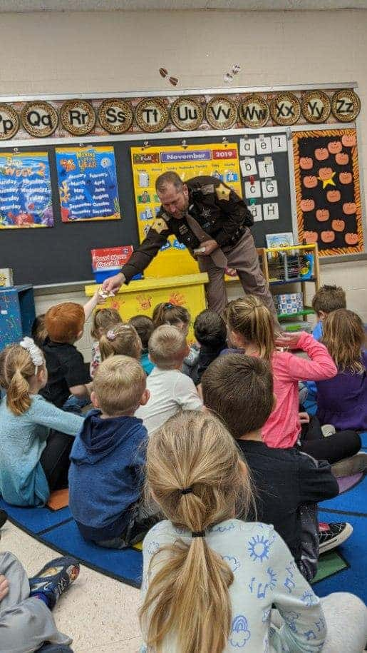 Det. Yancy Denning visiting a pre-school in Fall 2019